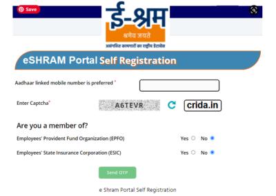 How to Register eshram gov in Self Registration CSC Login